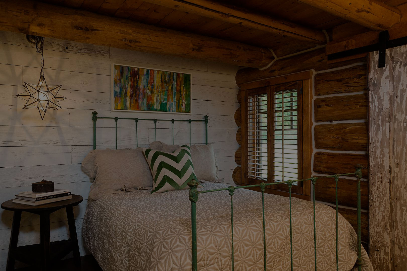 A beautiful cabin interior built with vintage reclaimed lumber.